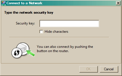 Network Security Key dialog
